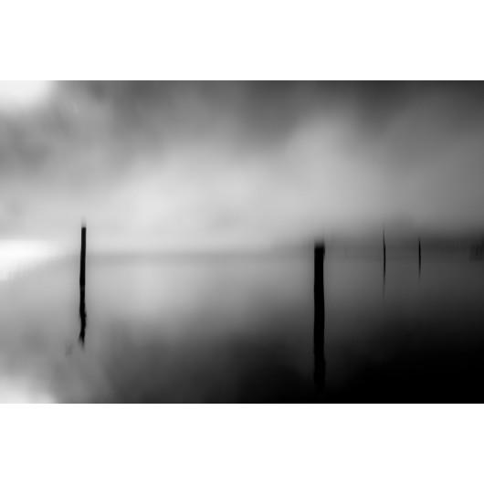 Fog clouds on the lake