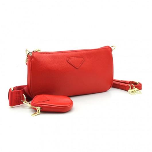 Leather baguette handbag