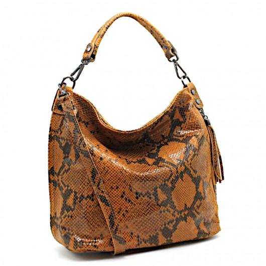 Large velvet leather bag with pyton print