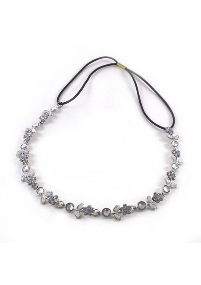 Twig diadem ribbon, metal and color paste silver color