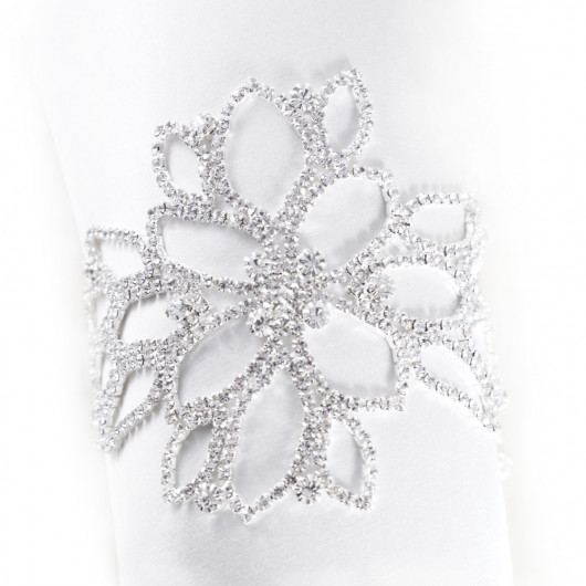 Bracelet jewels in paste silvery floral motive