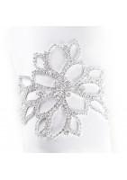 Bracelet bijoux en strass motif floral argenté