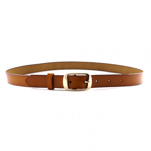 Real leather belt in natural color