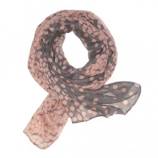 Scarf in cotton net with pink peas motive