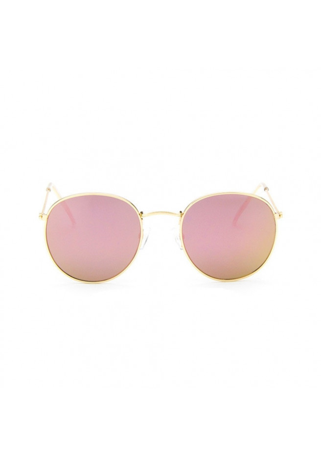 Sunglasses with iridescent pink glasses