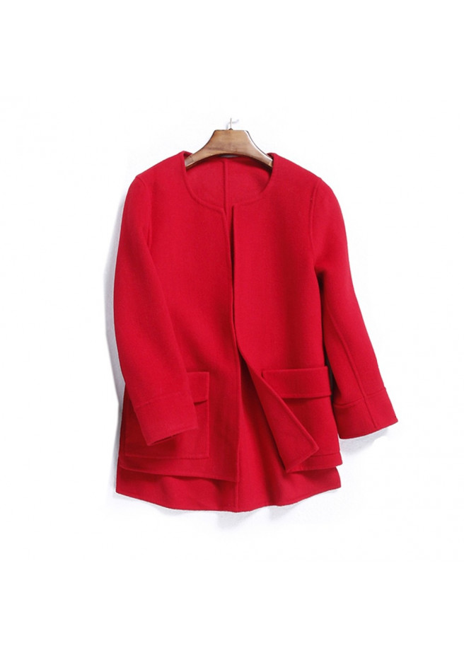 Woolen jacket with cashmere red double-face