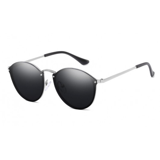 Sunglasses retro style fashion silvered with black glasses