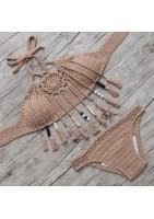 Bikini deux-pièces en joli macramé crocheté, franges à perles de bois