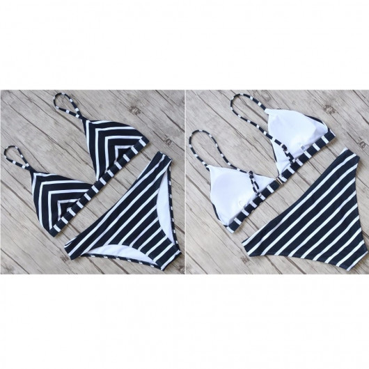 Bikini deux-pièces à rayures marine