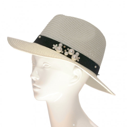 Panama straw hat with beaded embroidered ribbon