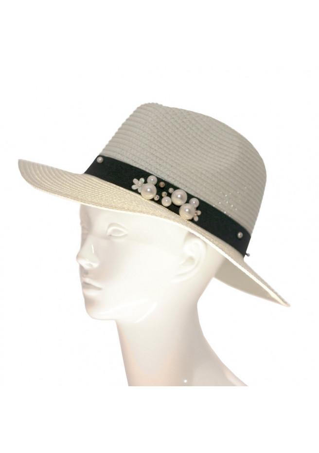 Chapeau panama paille avec ruban brodé de perles