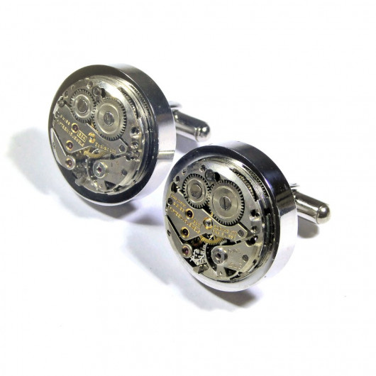Cufflinks, Swiss watch old movement Zodiac® movement 24 mm