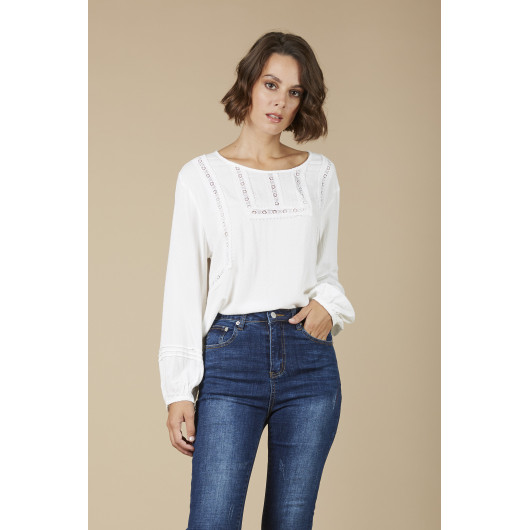 Woman white blouse with lace inlays