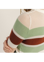 Small sweater in green and red striped viscose in finely openwork mesh on the top