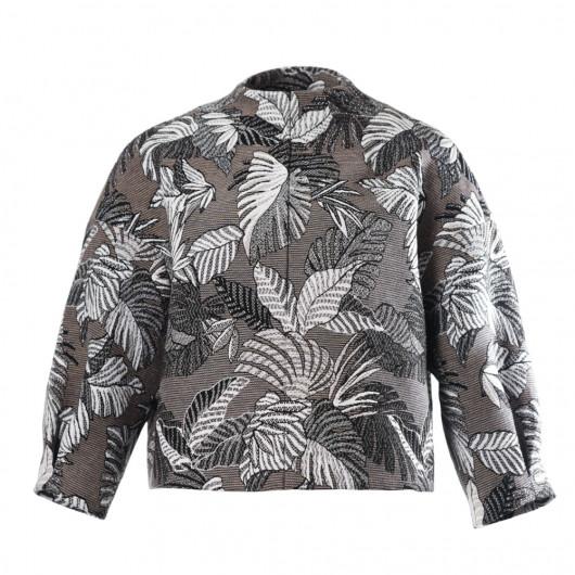 Short jacket jacket with Monstera design