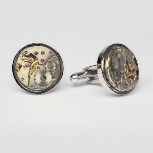 Cufflinks with old Swiss watch movement Cyma®