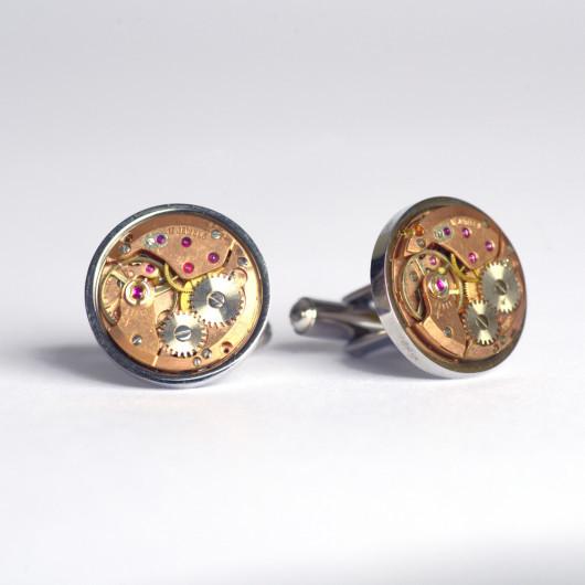 Cufflinks with old swiss watch movement in pink gold shade