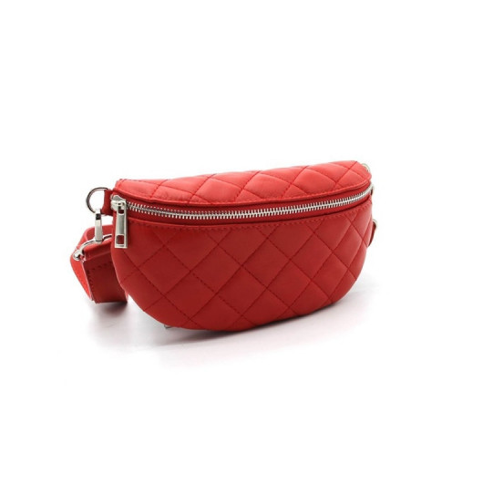 Quilted leather banana clutch bag to wear around the waist