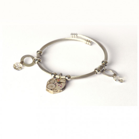 Bracelet with pendants and old swiss watch movement