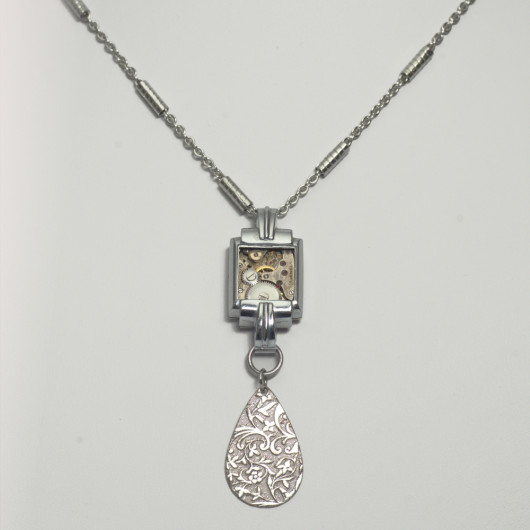Necklace sautoir Arbre du temps with Swiss made antique watch movement