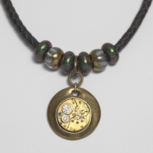 Brown braided leather necklace with antique Herald watch movement and Murano pearls