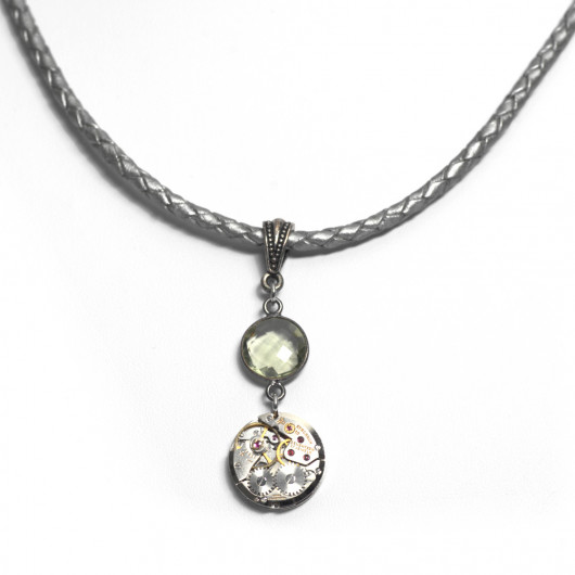Silver patent woven leather necklace with antique watch movement and green amethyst