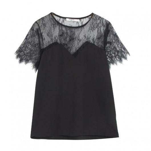 Small black top, bodice in crepe fabric and fine lace