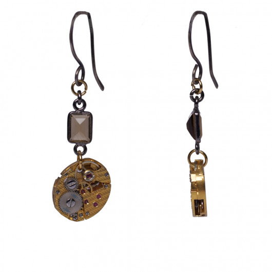 Earrings with Swiss old watch baguette movement of Rotary®