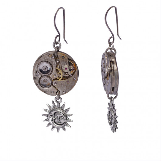 Moon and sun earrings with old Swiss watch movement from the 1920s