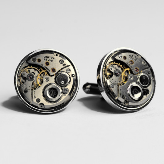 Cufflinks with old swiss watch movement Vertex Revue 22 mm