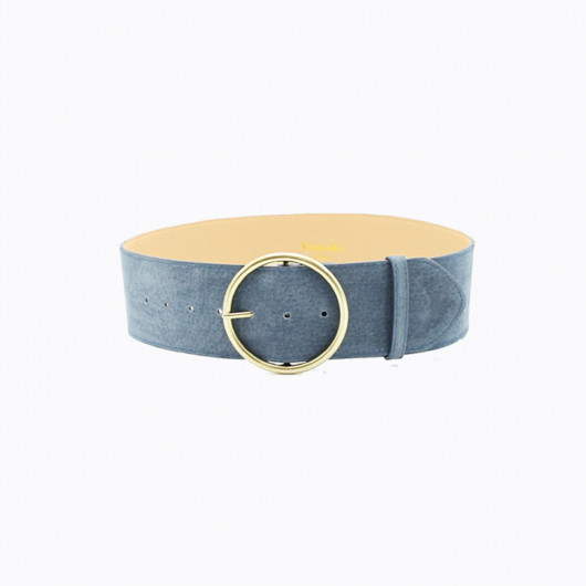 Genuine leather belt, designed with round buckle