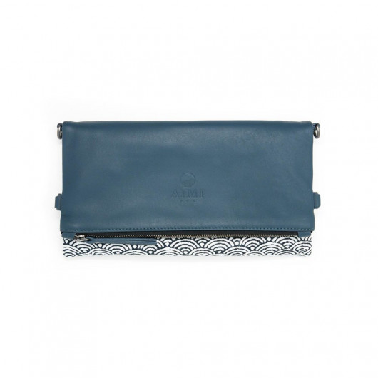 MIU folding clutch bag in fine Lether and japan inspired pattern